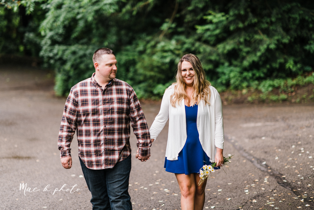 elizabeth and dan's rainy summer engagement session at ford nature center in mill creek park and whistle and keg bar in downtown youngstown ohio photographed by youngstown wedding photographer mae b photo-6.jpg