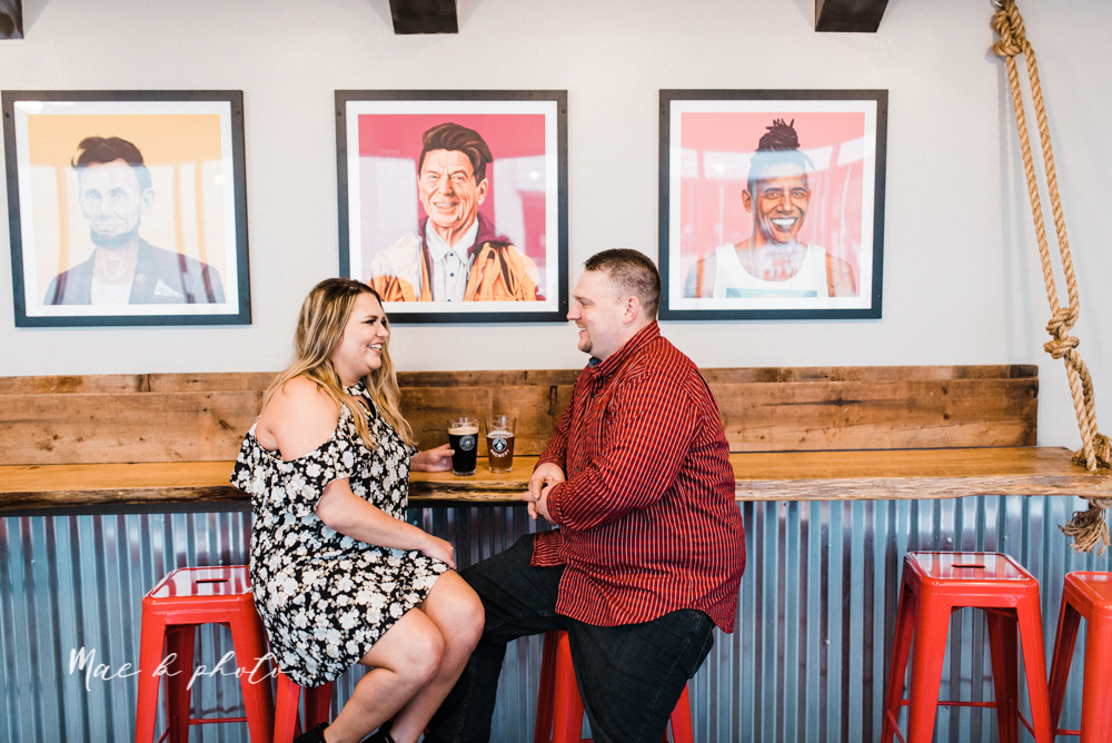 elizabeth and dan's rainy summer engagement session at ford nature center in mill creek park and whistle and keg bar in downtown youngstown ohio photographed by youngstown wedding photographer mae b photo-31.jpg