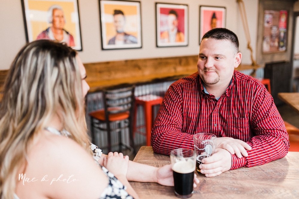 elizabeth and dan's rainy summer engagement session at ford nature center in mill creek park and whistle and keg bar in downtown youngstown ohio photographed by youngstown wedding photographer mae b photo-36.jpg