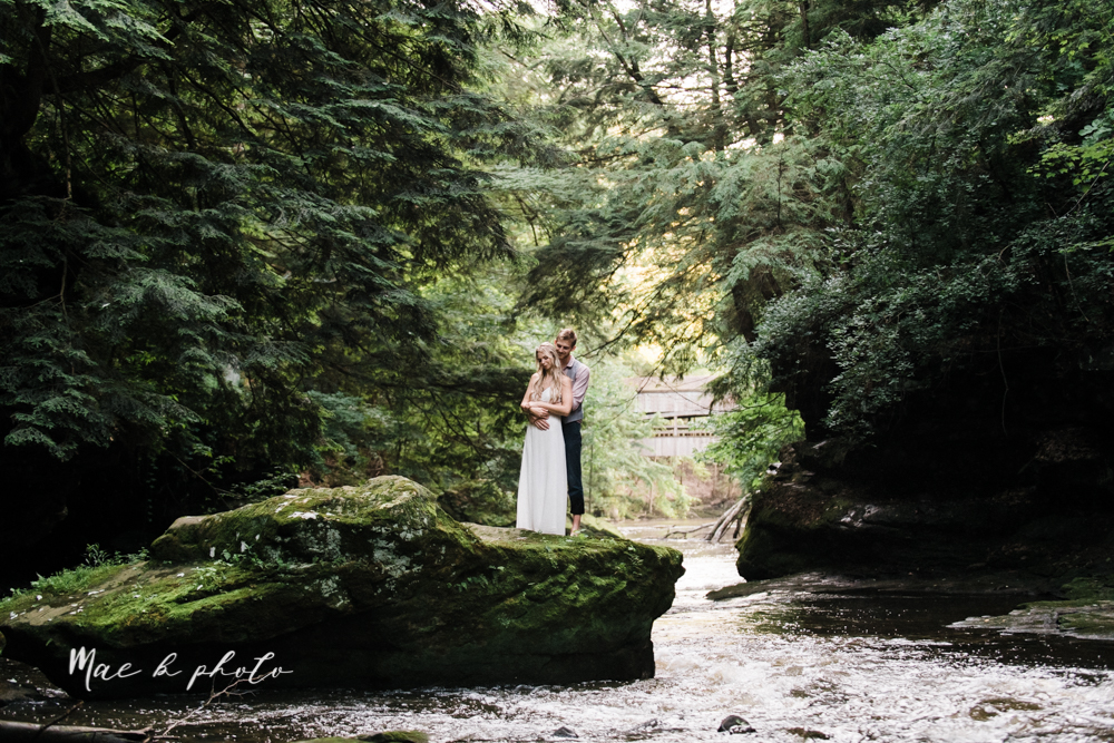 jessica and donny's woodsy adventurous summer engagement session at fellows riverside gardens (the rose gardens) and mill creek park at lantermin's mill in youngstown ohio photographed by youngstown wedding photographer mae b photo -45.jpg