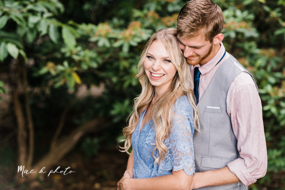 jessica and donny's woodsy adventurous summer engagement session at fellows riverside gardens (the rose gardens) and mill creek park at lantermin's mill in youngstown ohio photographed by youngstown wedding photographer mae b photo -17.jpg