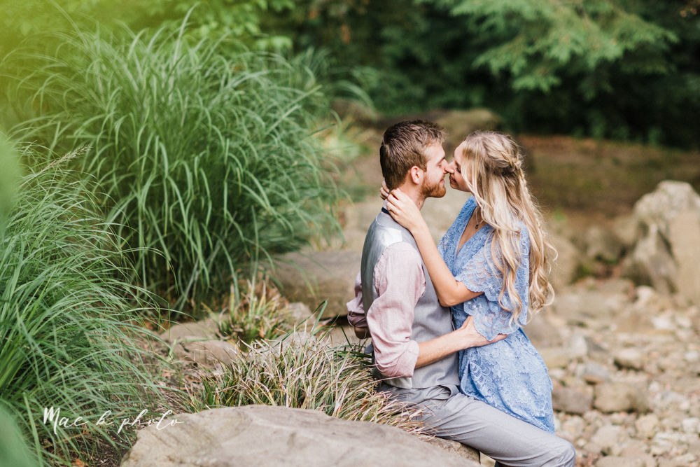 jessica and donny's woodsy adventurous summer engagement session at fellows riverside gardens (the rose gardens) and mill creek park at lantermin's mill in youngstown ohio photographed by youngstown wedding photographer mae b photo -29.jpg