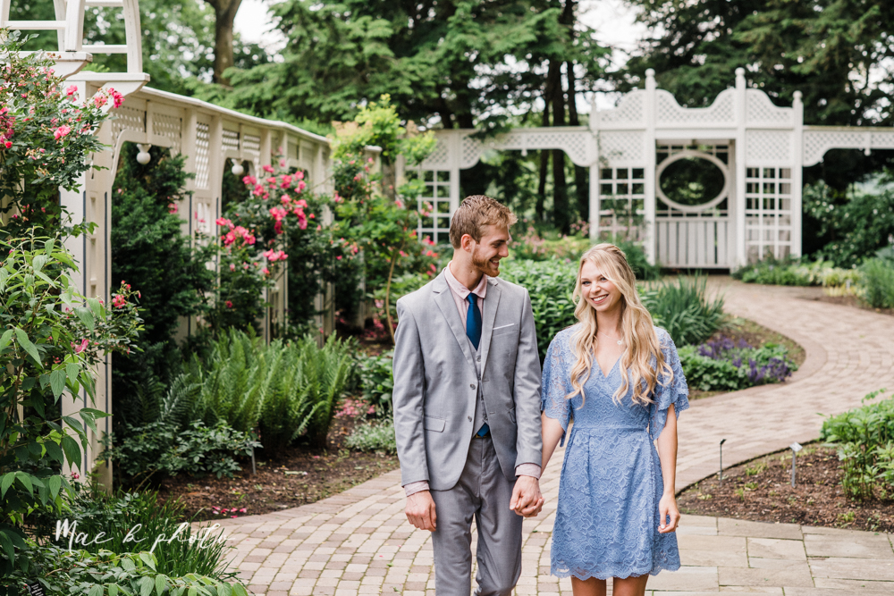 jessica and donny's woodsy adventurous summer engagement session at fellows riverside gardens (the rose gardens) and mill creek park at lantermin's mill in youngstown ohio photographed by youngstown wedding photographer mae b photo -4.jpg