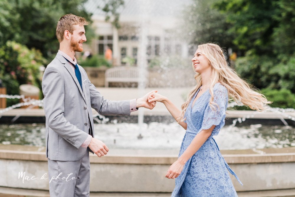 jessica and donny's woodsy adventurous summer engagement session at fellows riverside gardens (the rose gardens) and mill creek park at lantermin's mill in youngstown ohio photographed by youngstown wedding photographer mae b photo -14.jpg