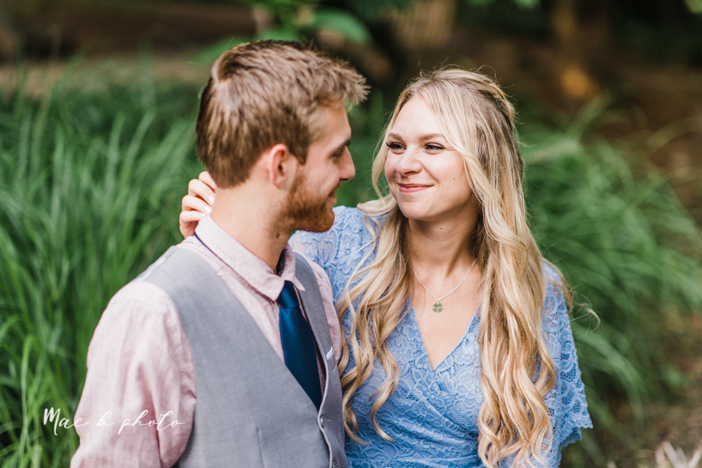 jessica and donny's woodsy adventurous summer engagement session at fellows riverside gardens (the rose gardens) and mill creek park at lantermin's mill in youngstown ohio photographed by youngstown wedding photographer mae b photo -30.jpg