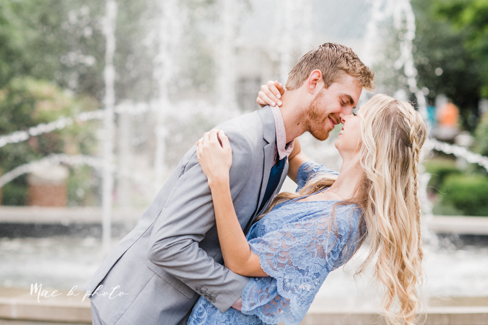 jessica and donny's woodsy adventurous summer engagement session at fellows riverside gardens (the rose gardens) and mill creek park at lantermin's mill in youngstown ohio photographed by youngstown wedding photographer mae b photo -13.jpg