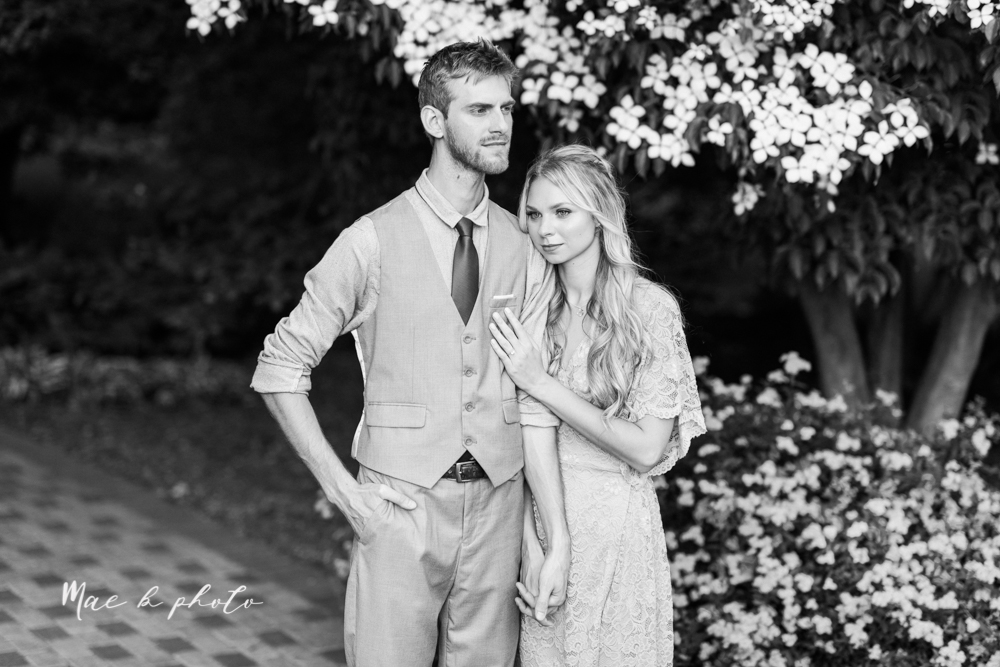jessica and donny's woodsy adventurous summer engagement session at fellows riverside gardens (the rose gardens) and mill creek park at lantermin's mill in youngstown ohio photographed by youngstown wedding photographer mae b photo -24.jpg