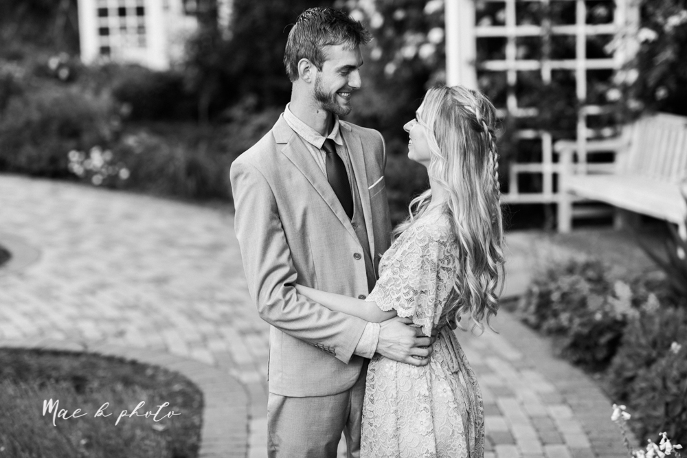 jessica and donny's woodsy adventurous summer engagement session at fellows riverside gardens (the rose gardens) and mill creek park at lantermin's mill in youngstown ohio photographed by youngstown wedding photographer mae b photo -2.jpg