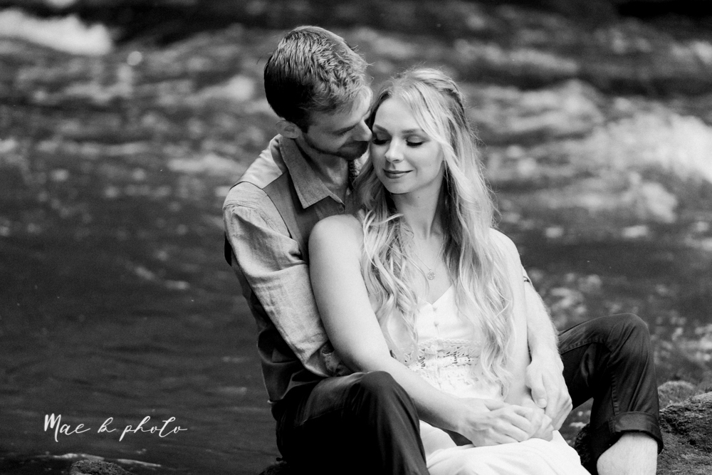 jessica and donny's woodsy adventurous summer engagement session at fellows riverside gardens (the rose gardens) and mill creek park at lantermin's mill in youngstown ohio photographed by youngstown wedding photographer mae b photo -47.jpg