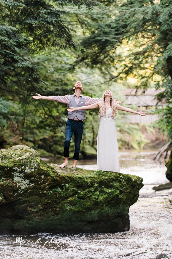 jessica and donny's woodsy adventurous summer engagement session at fellows riverside gardens (the rose gardens) and mill creek park at lantermin's mill in youngstown ohio photographed by youngstown wedding photographer mae b photo -41.jpg