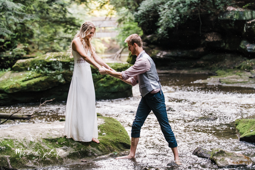 jessica and donny's woodsy adventurous summer engagement session at fellows riverside gardens (the rose gardens) and mill creek park at lantermin's mill in youngstown ohio photographed by youngstown wedding photographer mae b photo -34.jpg