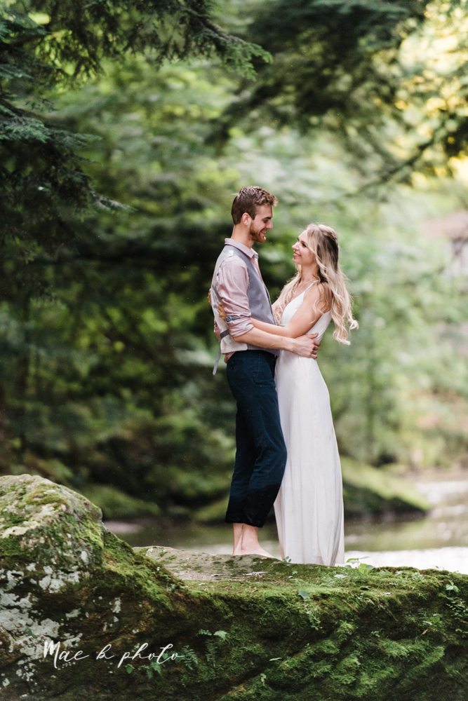 jessica and donny's woodsy adventurous summer engagement session at fellows riverside gardens (the rose gardens) and mill creek park at lantermin's mill in youngstown ohio photographed by youngstown wedding photographer mae b photo -42.jpg