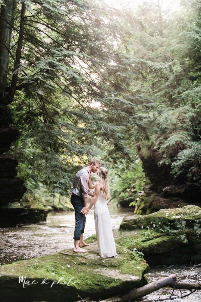 jessica and donny's woodsy adventurous summer engagement session at fellows riverside gardens (the rose gardens) and mill creek park at lantermin's mill in youngstown ohio photographed by youngstown wedding photographer mae b photo -39.jpg