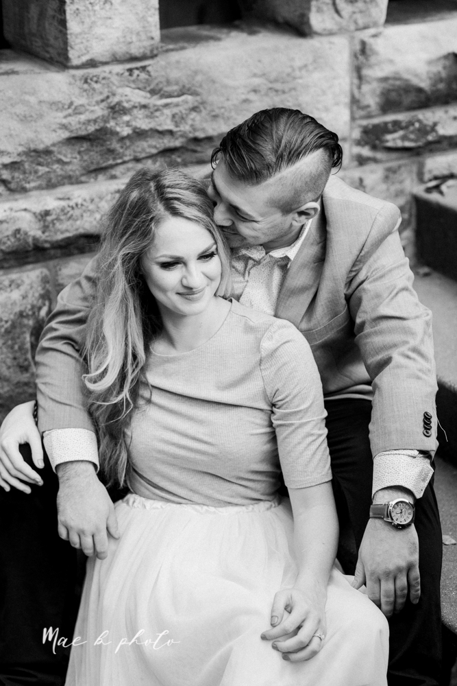 courtney and andy's vintage fall engagement session in mill creek park at pioneer pavilion and lake glacier in youngstown ohio photographed by youngstown wedding photographer mae b photo-29.jpg