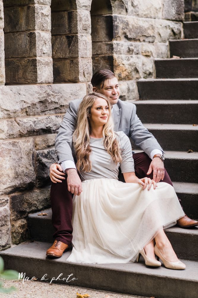 courtney and andy's vintage fall engagement session in mill creek park at pioneer pavilion and lake glacier in youngstown ohio photographed by youngstown wedding photographer mae b photo-25.jpg