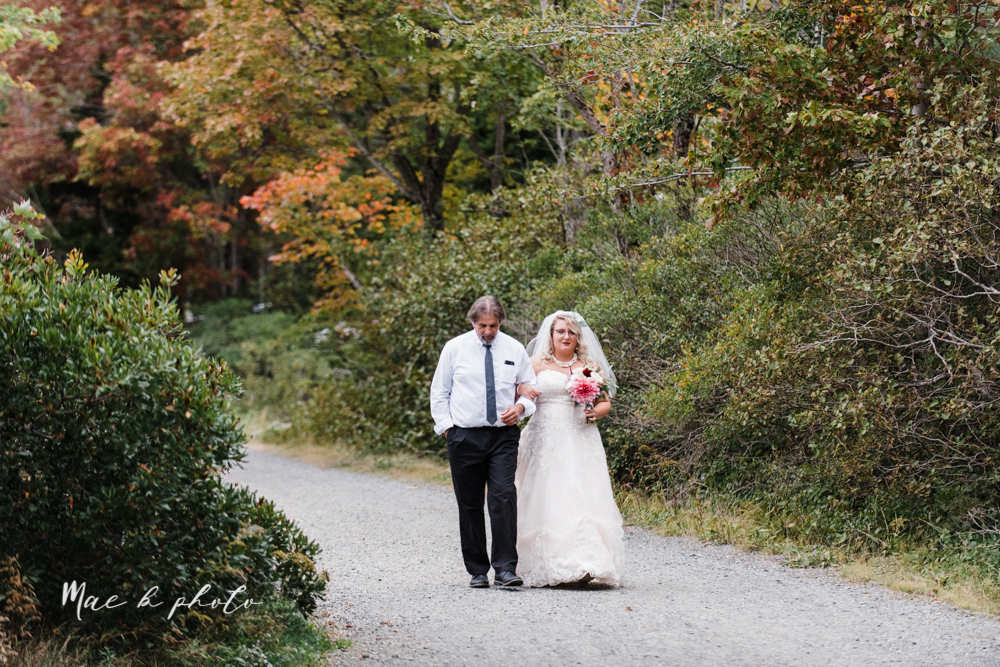 lyndsay and nate's intimate unique untraditional fall acadia national park elopement at eagle lake and cadillac mountain in bar harbor maine and honeymoon sunrise session at otter cliff photographed by youngstown wedding photographer mae b photo-104.jpg