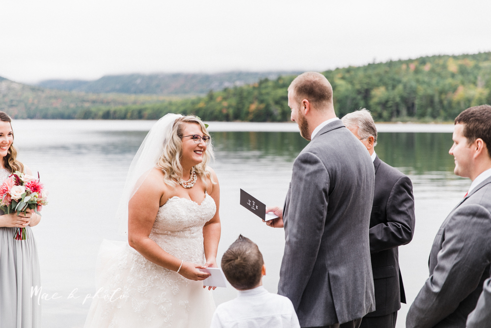 lyndsay and nate's intimate unique untraditional fall acadia national park elopement at eagle lake and cadillac mountain in bar harbor maine and honeymoon sunrise session at otter cliff photographed by youngstown wedding photographer mae b photo-31.jpg