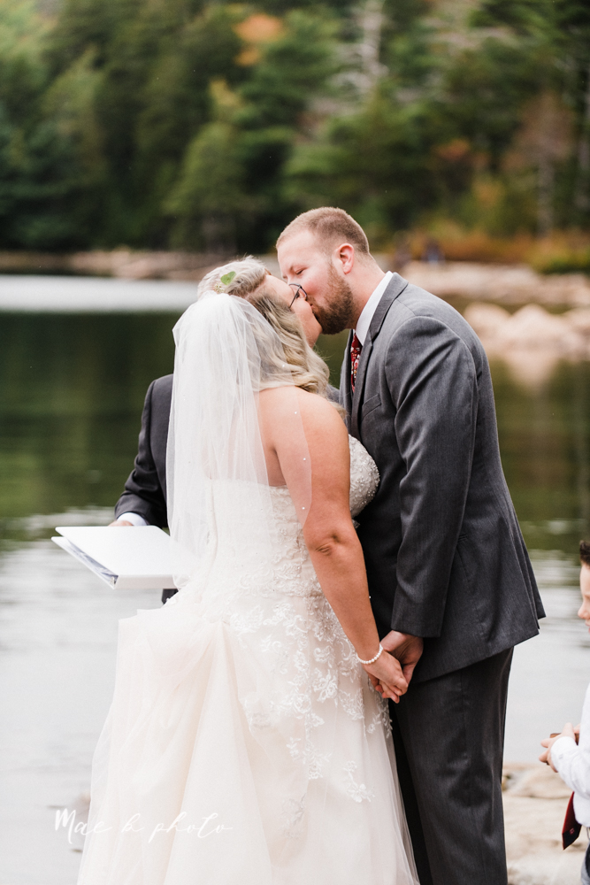 lyndsay and nate's intimate unique untraditional fall acadia national park elopement at eagle lake and cadillac mountain in bar harbor maine and honeymoon sunrise session at otter cliff photographed by youngstown wedding photographer mae b photo-108.jpg