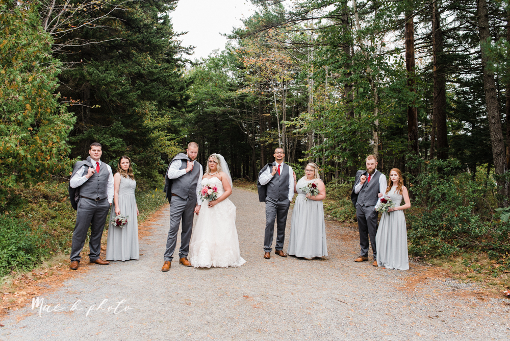 lyndsay and nate's intimate unique untraditional fall acadia national park elopement at eagle lake and cadillac mountain in bar harbor maine and honeymoon sunrise session at otter cliff photographed by youngstown wedding photographer mae b photo-113.jpg