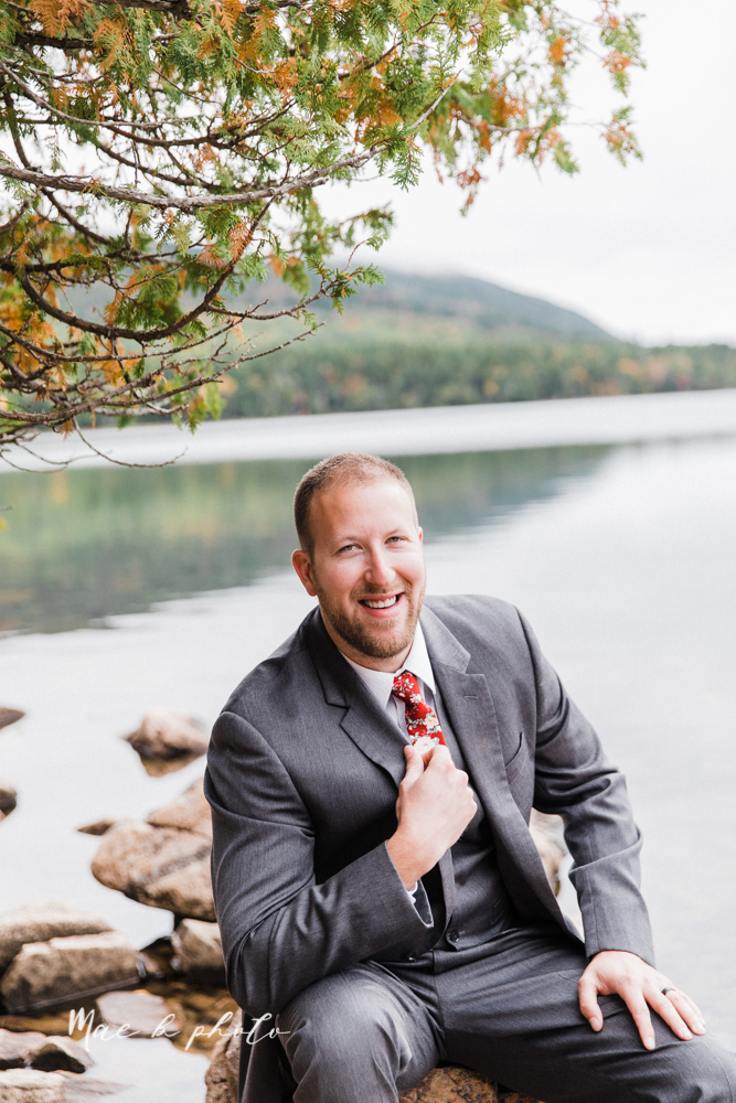 lyndsay and nate's intimate unique untraditional fall acadia national park elopement at eagle lake and cadillac mountain in bar harbor maine and honeymoon sunrise session at otter cliff photographed by youngstown wedding photographer mae b photo-37.jpg