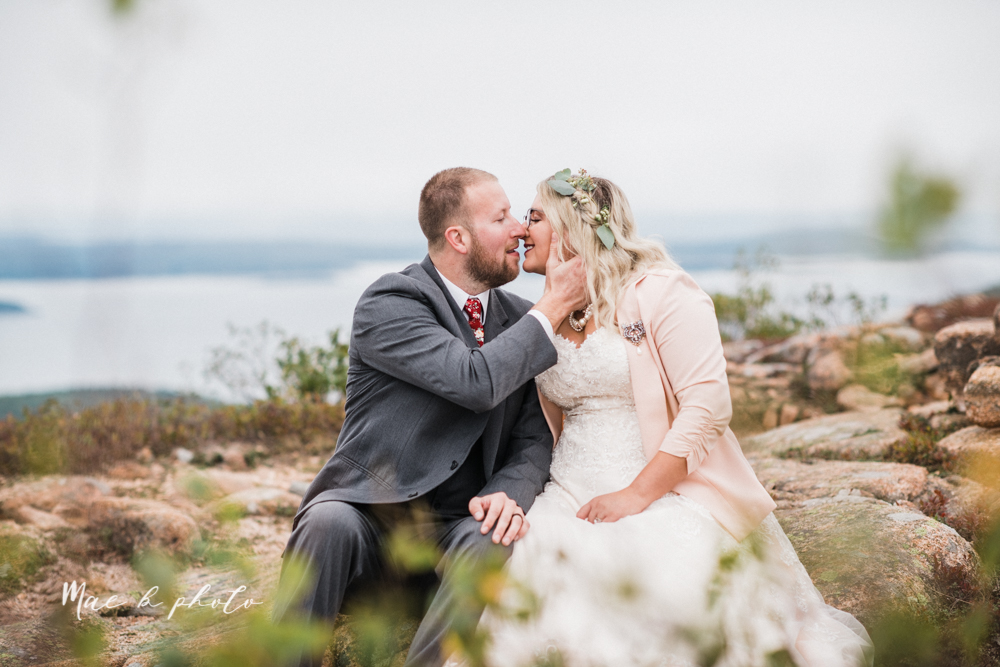lyndsay and nate's intimate unique untraditional fall acadia national park elopement at eagle lake and cadillac mountain in bar harbor maine and honeymoon sunrise session at otter cliff photographed by youngstown wedding photographer mae b photo-161.jpg