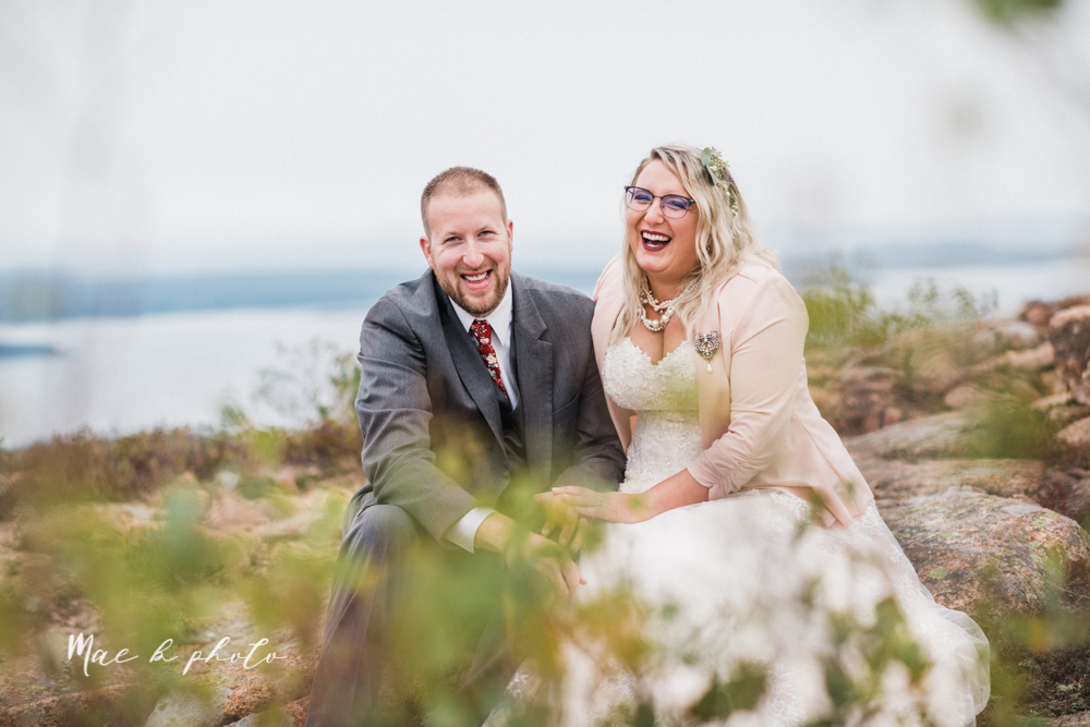 lyndsay and nate's intimate unique untraditional fall acadia national park elopement at eagle lake and cadillac mountain in bar harbor maine and honeymoon sunrise session at otter cliff photographed by youngstown wedding photographer mae b photo-162.jpg