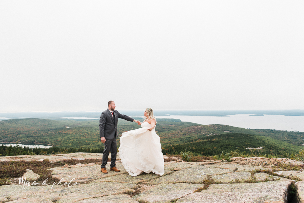 lyndsay and nate's intimate unique untraditional fall acadia national park elopement at eagle lake and cadillac mountain in bar harbor maine and honeymoon sunrise session at otter cliff photographed by youngstown wedding photographer mae b photo-168.jpg