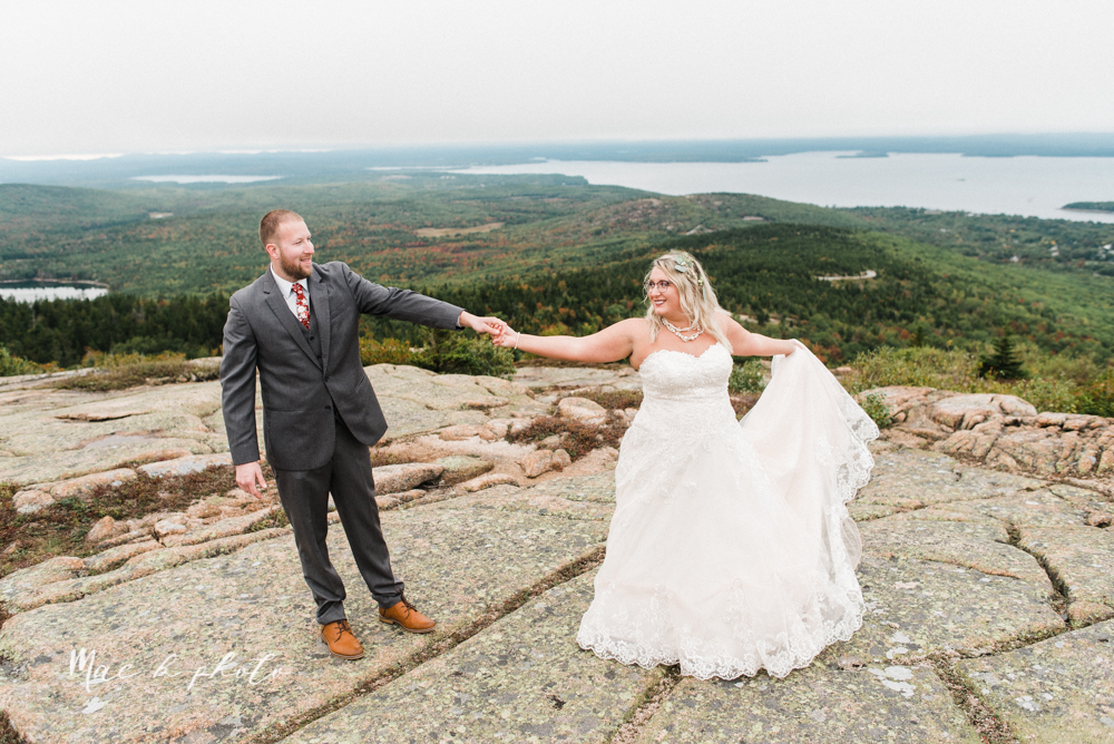 lyndsay and nate's intimate unique untraditional fall acadia national park elopement at eagle lake and cadillac mountain in bar harbor maine and honeymoon sunrise session at otter cliff photographed by youngstown wedding photographer mae b photo-170.jpg