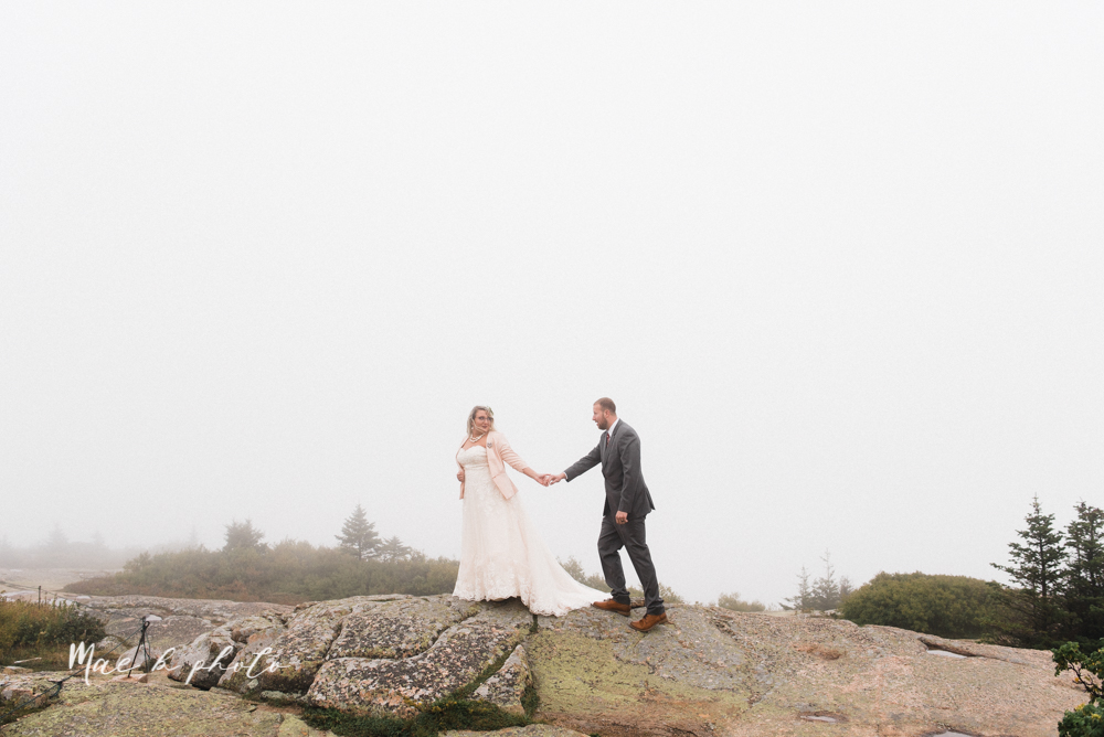 lyndsay and nate's intimate unique untraditional fall acadia national park elopement at eagle lake and cadillac mountain in bar harbor maine and honeymoon sunrise session at otter cliff photographed by youngstown wedding photographer mae b photo-144.jpg