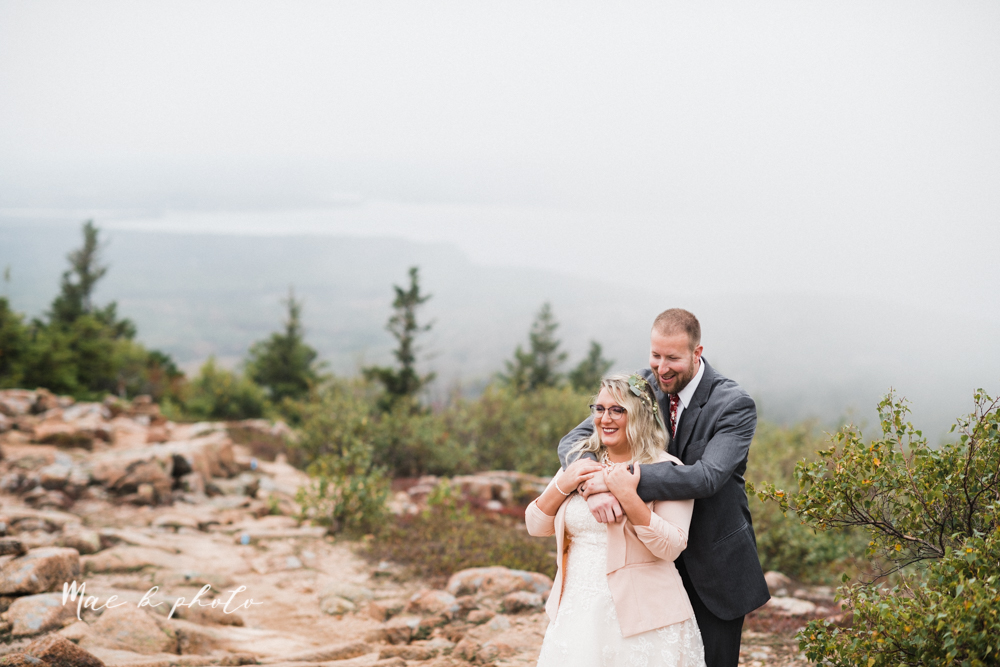 lyndsay and nate's intimate unique untraditional fall acadia national park elopement at eagle lake and cadillac mountain in bar harbor maine and honeymoon sunrise session at otter cliff photographed by youngstown wedding photographer mae b photo-155.jpg
