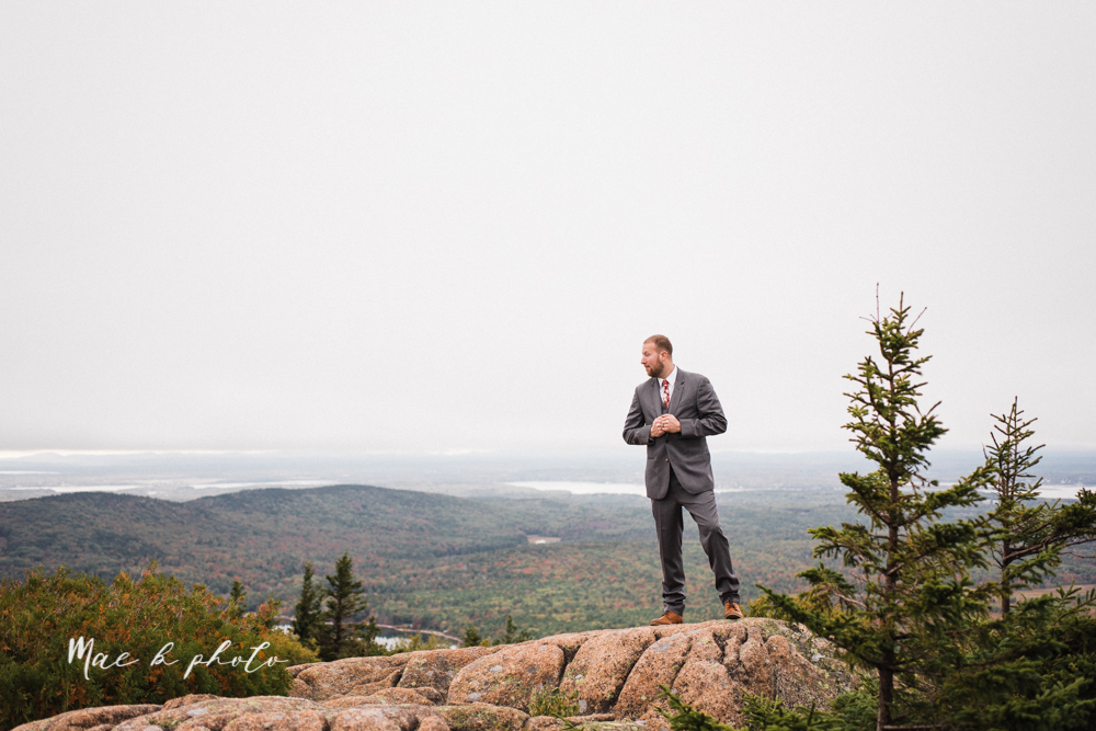lyndsay and nate's intimate unique untraditional fall acadia national park elopement at eagle lake and cadillac mountain in bar harbor maine and honeymoon sunrise session at otter cliff photographed by youngstown wedding photographer mae b photo-45.jpg
