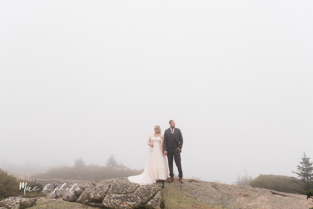 lyndsay and nate's intimate unique untraditional fall acadia national park elopement at eagle lake and cadillac mountain in bar harbor maine and honeymoon sunrise session at otter cliff photographed by youngstown wedding photographer mae b photo-146.jpg