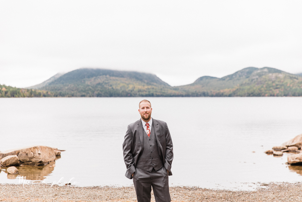 lyndsay and nate's intimate unique untraditional fall acadia national park elopement at eagle lake and cadillac mountain in bar harbor maine and honeymoon sunrise session at otter cliff photographed by youngstown wedding photographer mae b photo-22.jpg