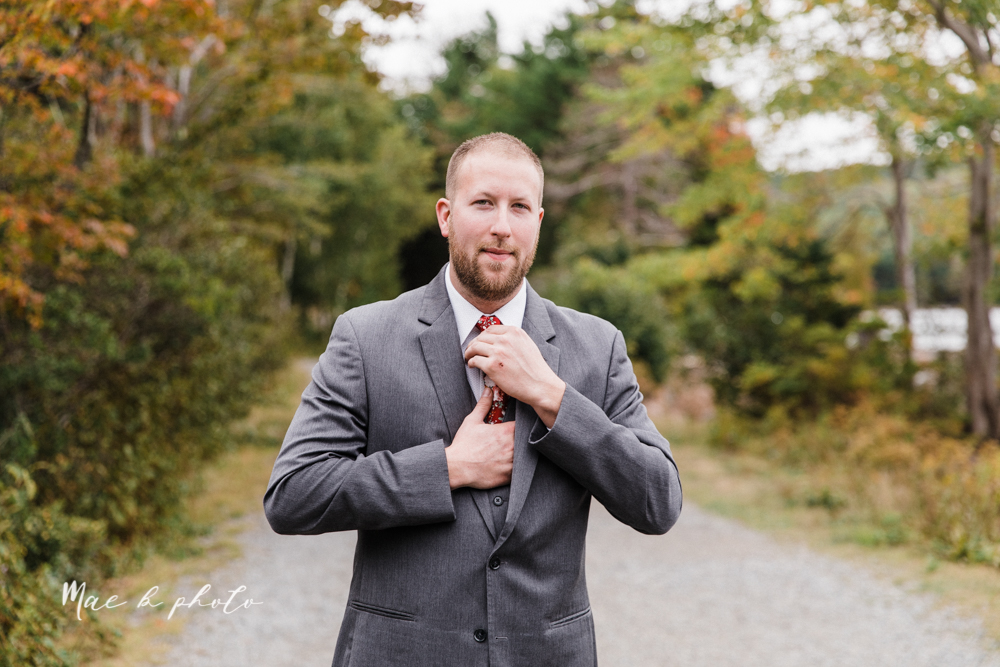 lyndsay and nate's intimate unique untraditional fall acadia national park elopement at eagle lake and cadillac mountain in bar harbor maine and honeymoon sunrise session at otter cliff photographed by youngstown wedding photographer mae b photo-28.jpg