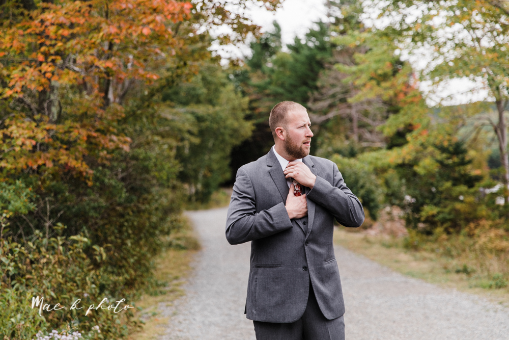 lyndsay and nate's intimate unique untraditional fall acadia national park elopement at eagle lake and cadillac mountain in bar harbor maine and honeymoon sunrise session at otter cliff photographed by youngstown wedding photographer mae b photo-27.jpg