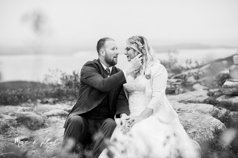 lyndsay and nate's intimate unique untraditional fall acadia national park elopement at eagle lake and cadillac mountain in bar harbor maine and honeymoon sunrise session at otter cliff photographed by youngstown wedding photographer mae b photo-160.jpg