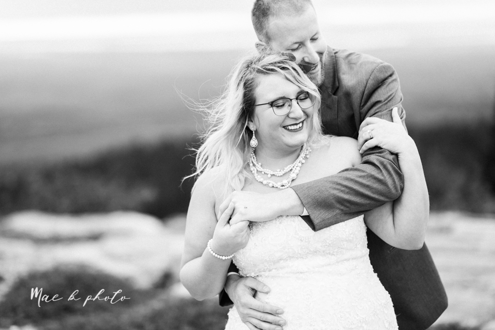 lyndsay and nate's intimate unique untraditional fall acadia national park elopement at eagle lake and cadillac mountain in bar harbor maine and honeymoon sunrise session at otter cliff photographed by youngstown wedding photographer mae b photo-171.jpg