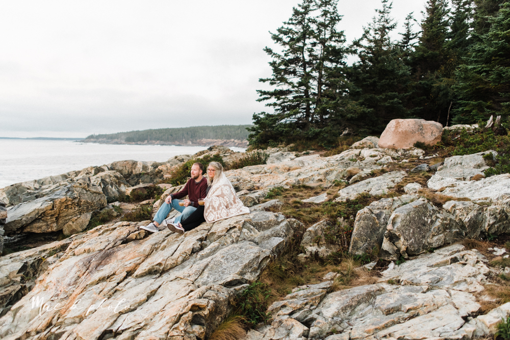 lyndsay and nate's intimate unique untraditional fall acadia national park elopement at eagle lake and cadillac mountain in bar harbor maine and honeymoon sunrise session at otter cliff photographed by youngstown wedding photographer mae b photo-174.jpg