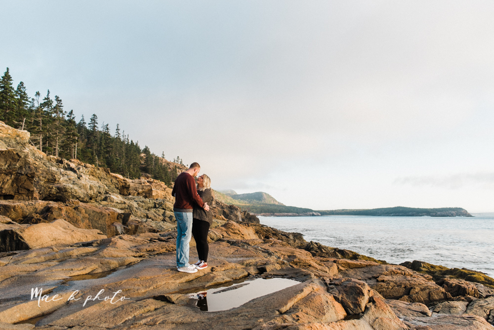 lyndsay and nate's intimate unique untraditional fall acadia national park elopement at eagle lake and cadillac mountain in bar harbor maine and honeymoon sunrise session at otter cliff photographed by youngstown wedding photographer mae b photo-198.jpg