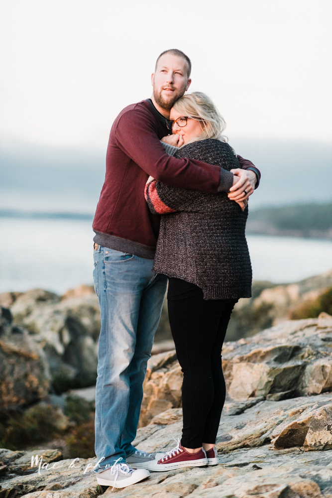 lyndsay and nate's intimate unique untraditional fall acadia national park elopement at eagle lake and cadillac mountain in bar harbor maine and honeymoon sunrise session at otter cliff photographed by youngstown wedding photographer mae b photo-179.jpg