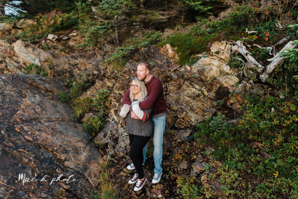 lyndsay and nate's intimate unique untraditional fall acadia national park elopement at eagle lake and cadillac mountain in bar harbor maine and honeymoon sunrise session at otter cliff photographed by youngstown wedding photographer mae b photo-190.jpg