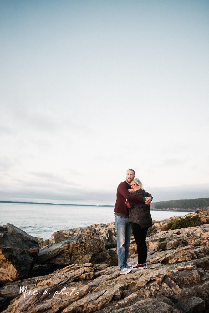 lyndsay and nate's intimate unique untraditional fall acadia national park elopement at eagle lake and cadillac mountain in bar harbor maine and honeymoon sunrise session at otter cliff photographed by youngstown wedding photographer mae b photo-180.jpg