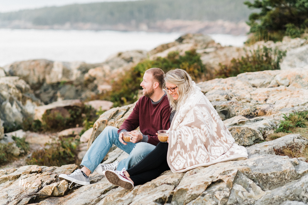 lyndsay and nate's intimate unique untraditional fall acadia national park elopement at eagle lake and cadillac mountain in bar harbor maine and honeymoon sunrise session at otter cliff photographed by youngstown wedding photographer mae b photo-175.jpg