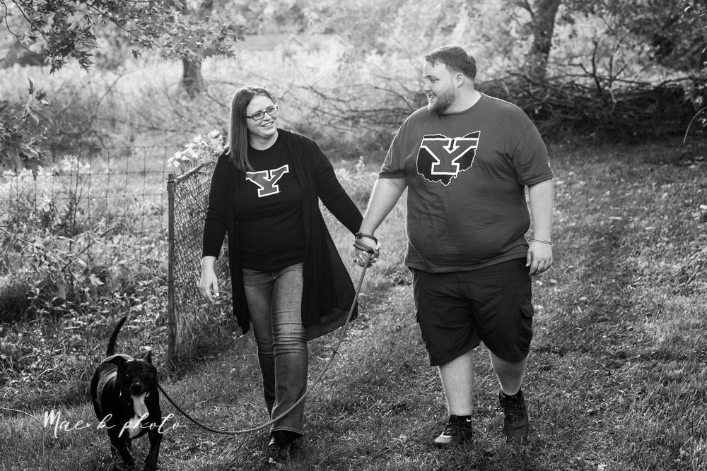 delorean and chase's backyard fall engagement session with youngstown state university shirts and a rescue dog from the mahoning county dog pound photographed by youngstown wedding photographer mae b photo-29.jpg