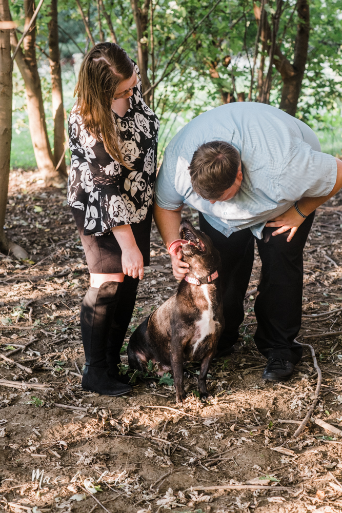 delorean and chase's backyard fall engagement session with youngstown state university shirts and a rescue dog from the mahoning county dog pound photographed by youngstown wedding photographer mae b photo-22.jpg