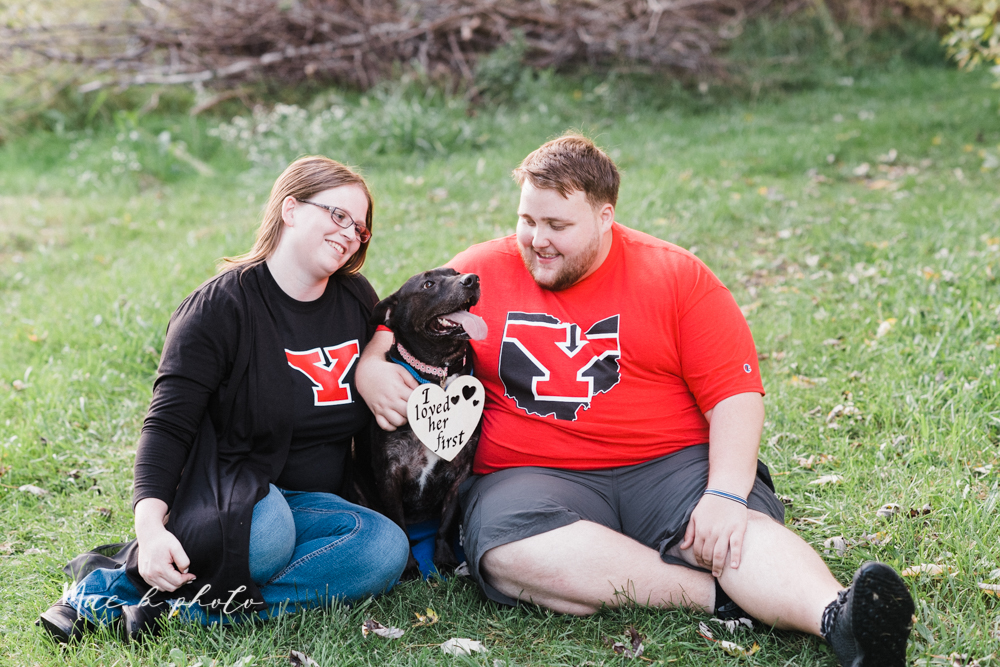 delorean and chase's backyard fall engagement session with youngstown state university shirts and a rescue dog from the mahoning county dog pound photographed by youngstown wedding photographer mae b photo-33.jpg