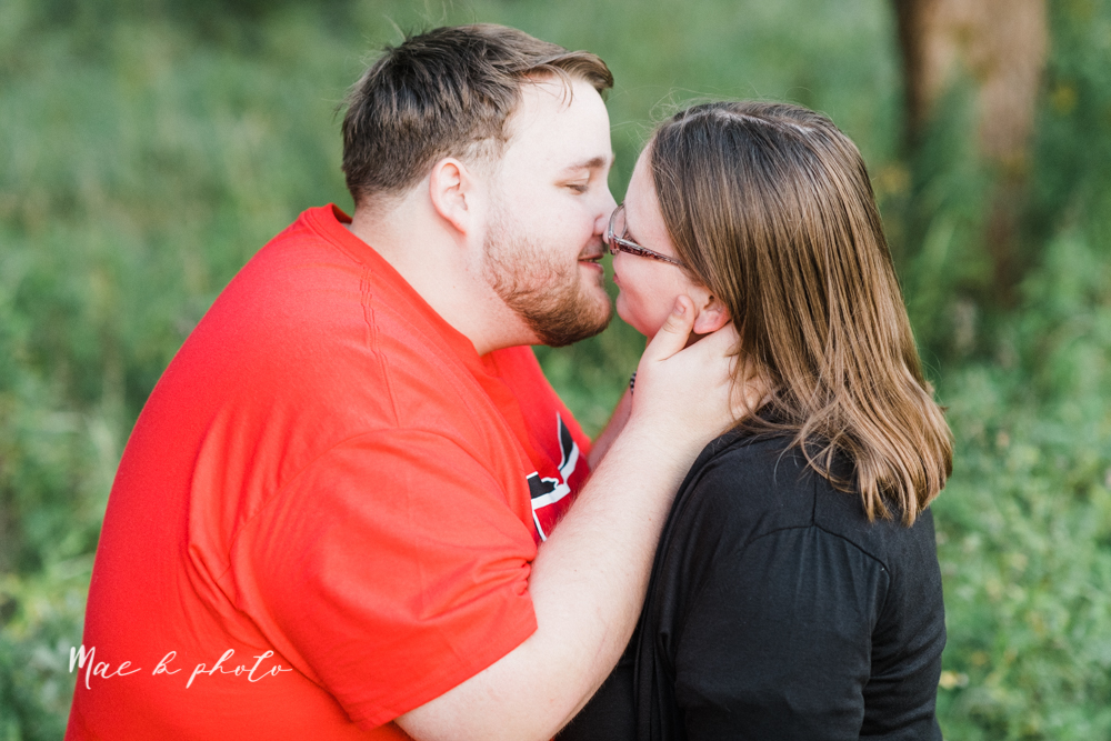 delorean and chase's backyard fall engagement session with youngstown state university shirts and a rescue dog from the mahoning county dog pound photographed by youngstown wedding photographer mae b photo-44.jpg