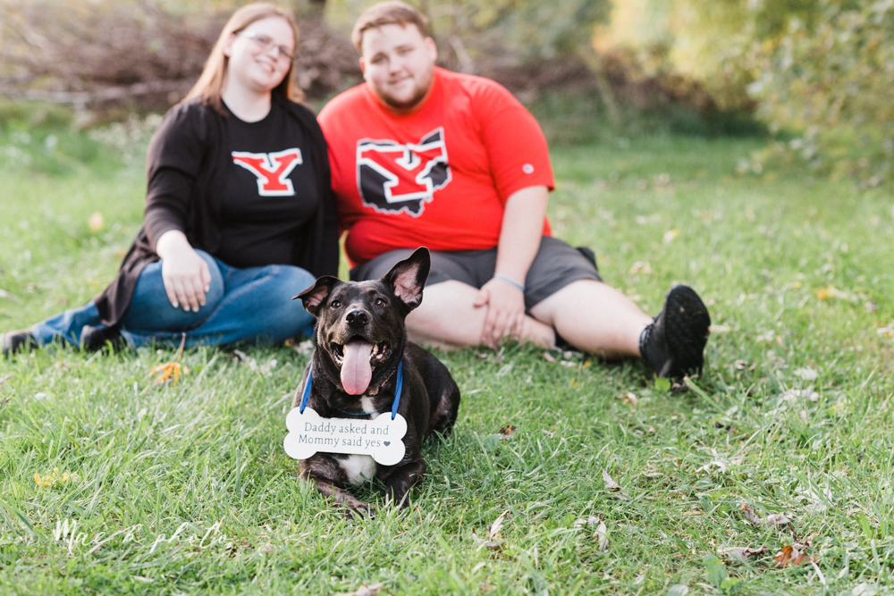 delorean and chase's backyard fall engagement session with youngstown state university shirts and a rescue dog from the mahoning county dog pound photographed by youngstown wedding photographer mae b photo-38.jpg