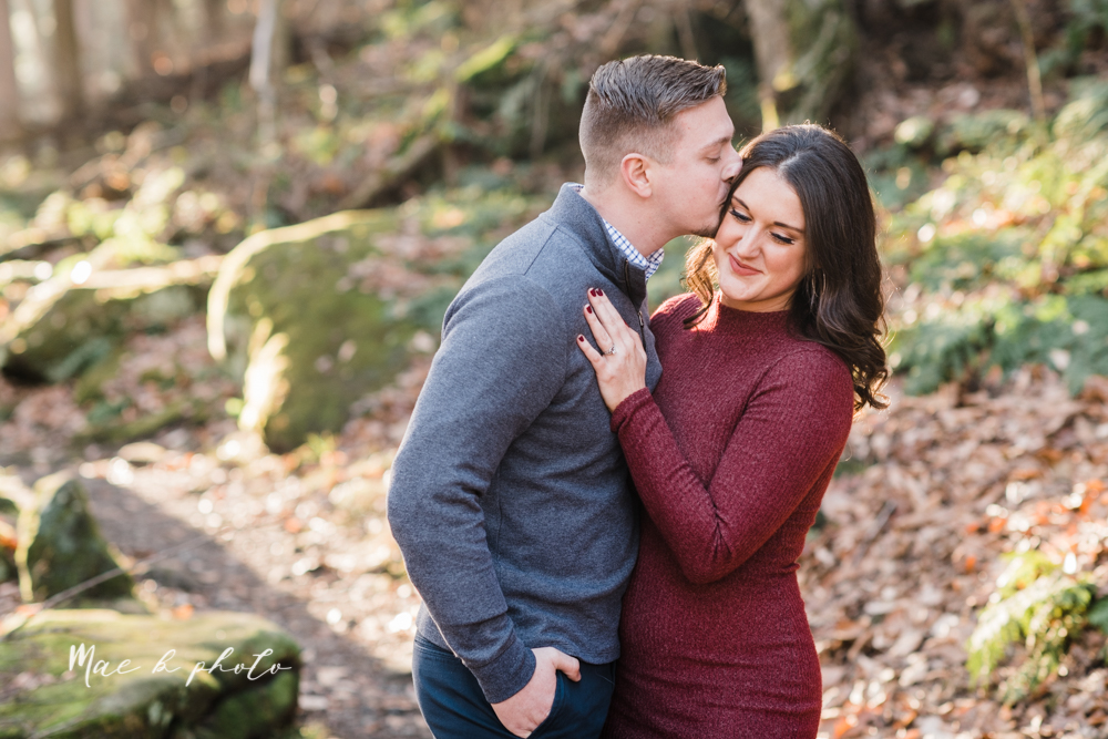 shelby and tyler's winter engagement session in northeast ohio at the cinderella bridge silver bridge and lanterman's mill in mill creek park in youngstown ohio photographed by youngstown wedding photographer mae b photo-13.jpg