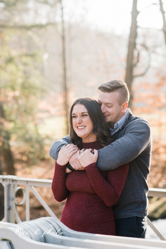 shelby and tyler's winter engagement session in northeast ohio at the cinderella bridge silver bridge and lanterman's mill in mill creek park in youngstown ohio photographed by youngstown wedding photographer mae b photo-7.jpg